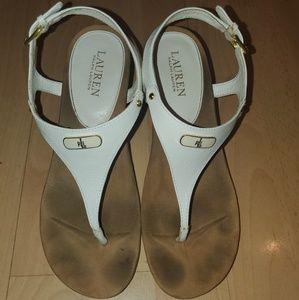 Ralph Lauren White & Tan Wedge Sandals